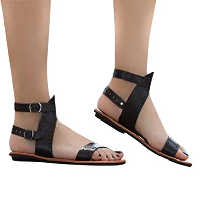 9fe16192fd1f5 Women Roman Style Gladiator Sandals Ankle Strap Espadrilles Side Summer  Flats Shoes Black