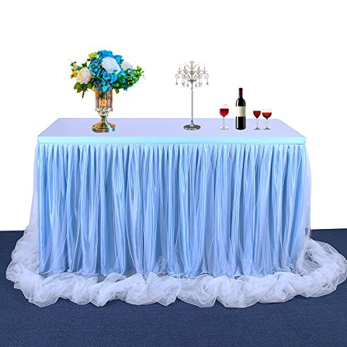 Fulu Bro 6ft Blue Long Tulle Table Skirt for Rectangle Tables Tutu Tablecloth for Baby Shower Candy Girl Wedding Birthday Party Decorations (2 -