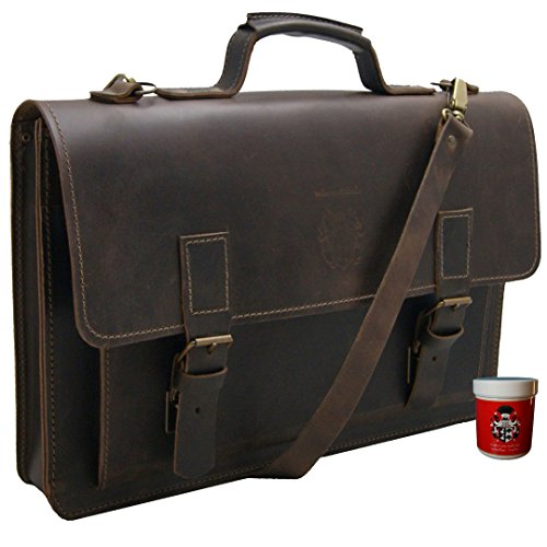 BARON of MALTZAHN Briefcase PYTHAGORAS 17.3 in brown leather, Made in Germany + leather care