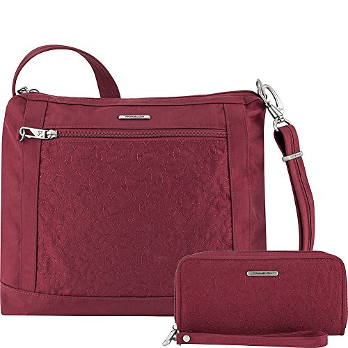 (Travelon Anti-Theft Square Crossbody and Wallet Set - Medium RFID Lined Handbag for Travel & Everyday - (Ruby/Dusty Rose Interior))