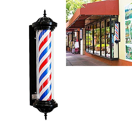 KauiP Led Barber Pole Light Hair Salon Hairdressing Sign Outdoor Retro Barbershop Pole Illuminating Rotating Red White Blue Stripes Wall-Mounted Lamp Waterproof 70cm/28in