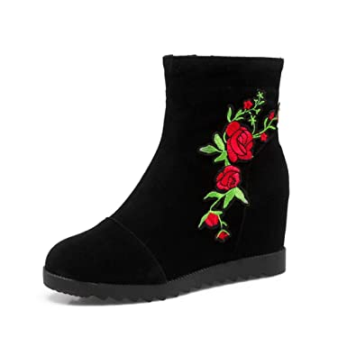 Womens Quilted Embroidered Zipper Suede Boots SXC02452