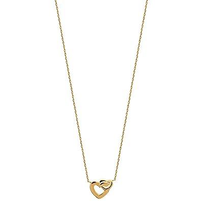 Halskette In Vergoldet 2 Ineinander Verschlungene Herzen