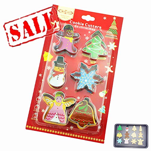 Small Cookie Cutters Set for Kids - 6 Assorted Stainless Steel Mini Winter Holiday Biscuit Mold - Angel, Jingle Bell, Tree, Snowflake, Snowman, Gingerbread Man - also For Baby Shower Cookie Molds