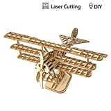 Robotime Bi-Plane 3D Wooden Puzzle Toys Kids to Building - Laser Cutting Boy Toys 8 9 10 Years Old Up