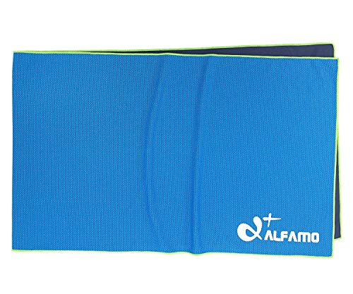 """Alfamo Cooling Workout Towel, 47""""x14"""" Gym Towel Cooling Cloth Scarf Cold Towel, Cool Down for Running Biking Climbing Tennis Yoga Bowling & Other Sports, Hot Weather Gear Gift for Golfers"""