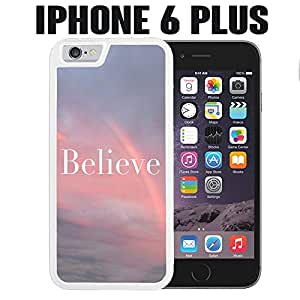 iPhone Case Believe Beautiful Sunset Rainbow for iPhone 6 PLUS Rubber White (Ships from CA)