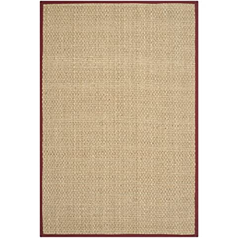 Safavieh Natural Fiber Collection NF114D Basketweave Natural and Red Seagrass Area Rug (2' x 3') (Cotton Area Rugs 2x3)