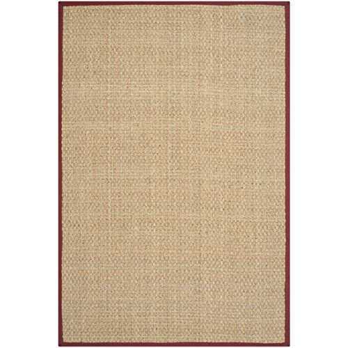 Border Red Area Rugs (Safavieh Natural Fiber Collection NF114D Basketweave Natural and  Red Seagrass Area Rug (2'6