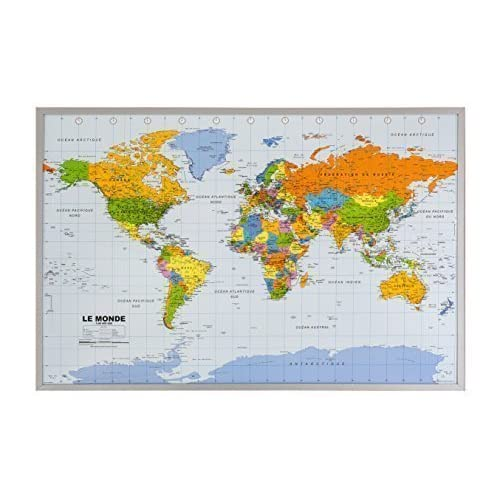 World map pin board amazon cork pin board with world map in french 90 x 60 cm gumiabroncs Choice Image
