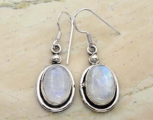 15.00 Ctw Genuine Rainbow Moonstone .925 Silver Overlay Handmade Dangle Earrings Jewelry