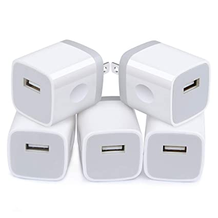 5Pack USB Wall Charger Plug Certified, Charging Bulk, NINIBER 1A/5V Single Port Charging Block Station Head Brick Base Adapter for Phone X 8 6S 6 ...