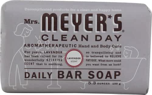 Mrs Meyers Bar Soap Hard 5.3oz Lavender Scent (12 pack)