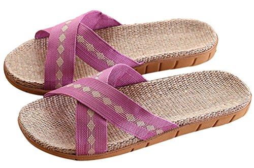 Blubi Womens Summer Folk Lin Maison Confortable Chaussons Pantoufles Mignonnes Violet
