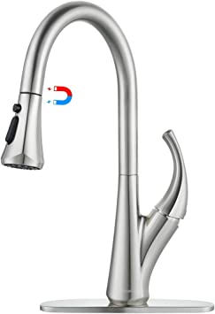 Wowow Magnetic Kitchen Faucet Pull Down Sprayer Stream Sweep Spray Brushed Nickel Kitchen Faucets Stainless Steel High Arc 1 Handle 360 Rotation Commercial Modern Kitchen Sink Faucets Deck Plate Amazon Com