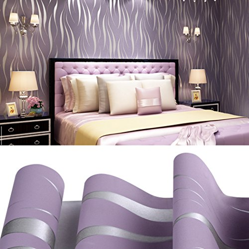 European Vintage Non Woven 3D Wallpaper,Grey & Sliver Stripe Wall paper for Living Room Bedroom (Purple) - Purple Striped Wallpaper