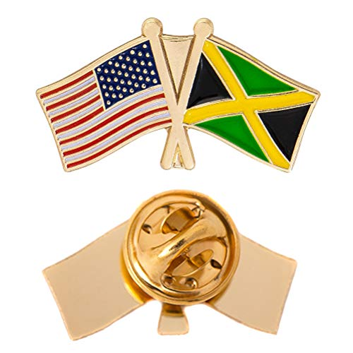 Jamaica Flag Lapel Pin - Jamaica Country Double Flag Lapel Pin Enamel with United States USA US Souvenir Hat Men Women Patriotic (Double Flag Pin)