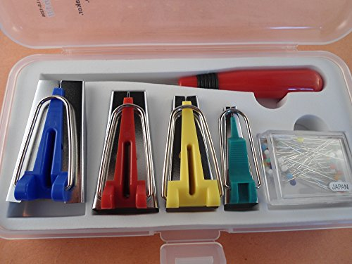 4 Binder Tape Makers 1 Utility Awl and Many Glass Headed Cloth Pins in a Plastic Bobbin Storage Box