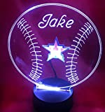 Houston Beautiful Handmade Acrylic Personalized Astros MLB Baseball Light Up Light Lamp LED Table Lamp, Our Newest Feature - It's WOW, With Remote, 16 Color Options, Dimmer, Free Engraved, Great Gift