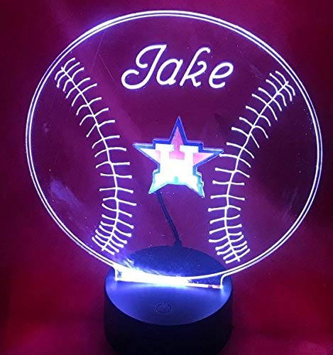 Houston Beautiful Handmade Acrylic Personalized Astros MLB Baseball Light Up Light Lamp LED Table Lamp, Our Newest Feature - It's WOW, With Remote, 16 Color Options, Dimmer, Free Engraved, Great Gift ()