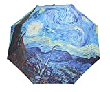 HappyGO Manual Open Compact Folding Travel Sunny Anti-UV Rainny Colorful Oil Painting Umbrella (Starry sky,8Ribs)