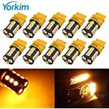 Yorkim Super Bright 3157 LED Light Bulbs Amber Pack of 10, 3157 LED Brake Lights, 3157 LED Backup Reverse Lights, 3156 LED Reverse Tail Lights, Turn Signal Led - 3056 3156 3057 3157 4157 LED Bulbs