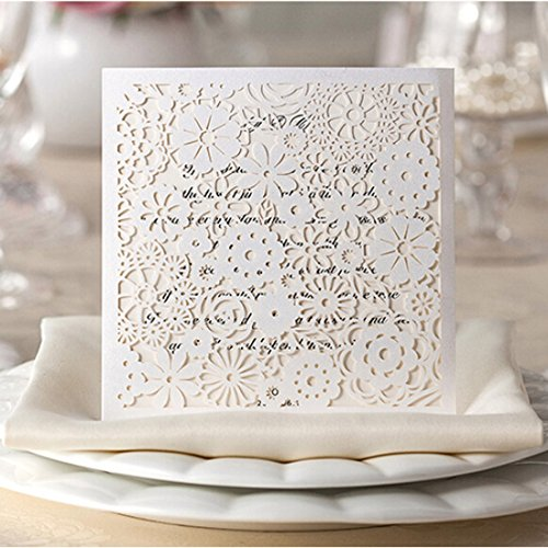 Wishmade Wedding Invitations Laser Cut Floral 50 Kits with Envelopes, Stickers for Bridal Show, Baby Shower,Engagement,Birthday,Anniversary