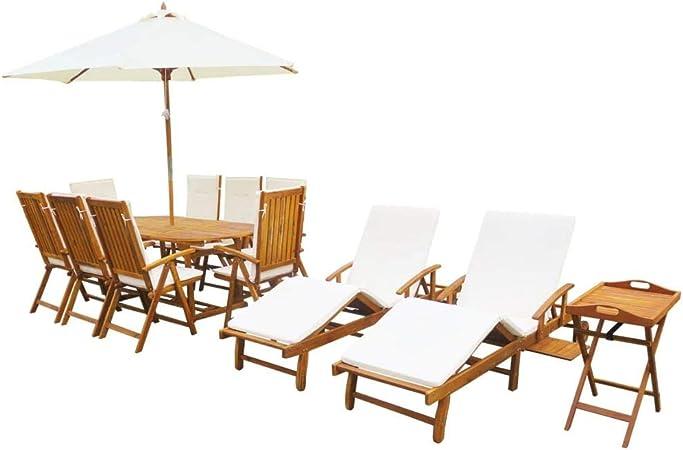 UnfadeMemory Conjunto de Comedor de Jardín con Tumbona y Sombrilla,Diseño Clásico,Muebles de Jardín Terraza Balcón o Patio,Madera Maciza de Acacia (2# con Cojines): Amazon.es: Hogar