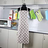 Aprons for Women and Men, Kitchen Chef Apron Waterproof Back Side Plastic Coated Resistant with Pockets Cooking, Baking, Gardening Aprons Kitchen Cooking Clothes Size 31' Inch x 20 Inch ((Light Gray))