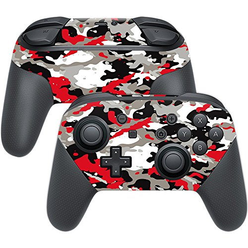 MightySkins Skin Compatible with Nintendo Switch Pro Controller - Red Camo | Protective, Durable, and Unique Vinyl Decal wrap Cover | Easy to Apply, Remove, and Change Styles | Made in The USA
