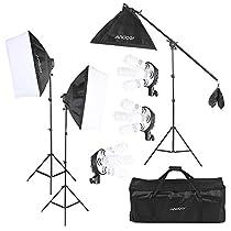 Andoer Set Illuminazione Per Studio Fotografico 12 * 45W Lampadina / 3 * 4 in 1 Socket della Lampadina / 3 * Softbox / 3 * Luce Stand / 1 * Cantilever Stick / 1 * Sacchetto