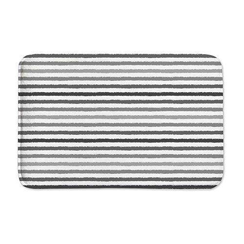 YOLIYANA Striped Anti Slip Rubber Back Doormat,Gray and White Stripes Monochrome Tone Brush Style Lines Grunge Retro Digital Print for Living Room,23