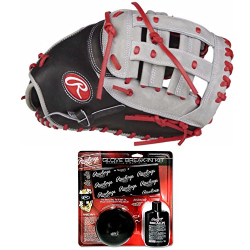 "Rawlings Heart of The Hide 12.25"" First Base Mitt with Glove Break-in Kit (Right Hand Throw)"