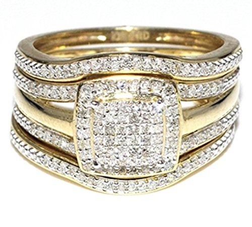 Trio Wedding Rings Set Bridal Set 3 Piece And Mens Wide Wedding Band  0.55ctw 10K