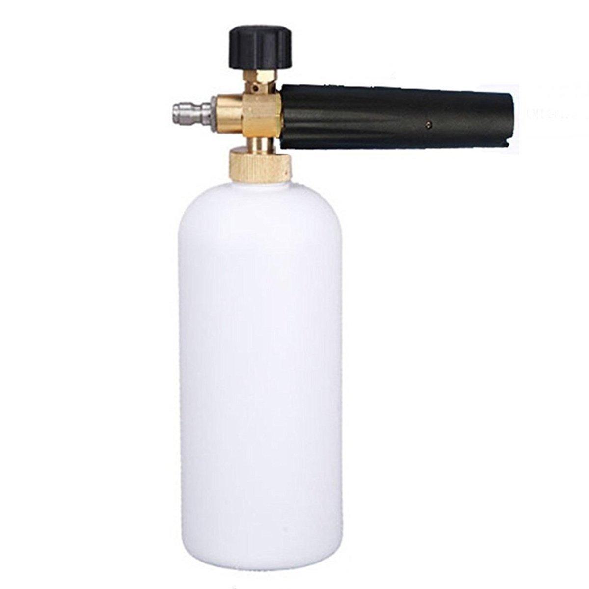 Ocamo Fuel Injector Cleaner Car Wash Gun Bottle, Adjustable Foam Cannon 1 Liter Bottle Snow Foam Lance, 1/4'' Adjustable Car Wash Gun Snow Foam Lance High Pressure Car Washer Bottle Cannon Tools