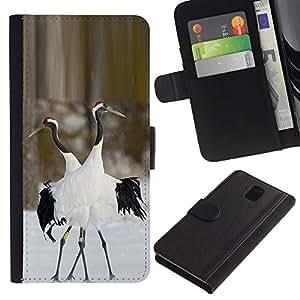 WonderWall Fondo De Pantalla Imagen Diseño Cuero Voltear Ranura Tarjeta Funda Carcasa Cover Skin Case Tapa Para Samsung Galaxy Note 3 III N9000 N9002 N9005 - pájaros aman la naturaleza de invierno par de San Valentín