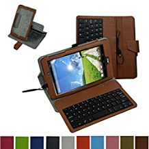 """Acer Iconia One 8 B1-810 / Tab 8 A1-850 USB Keyboard Case,Mama Mouth Rotary Stand PU Leather Cover With Removable Micro USB Keyboard for 8"""" Acer Iconia One 8 B1-810 / A1-850-13FQ Tablet,Brown"""