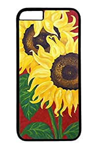 iPhone 6 Case, Personalized Unique Design Protective Cover for iPhone 6 PC Black Edge Case - Noble Sunflowers