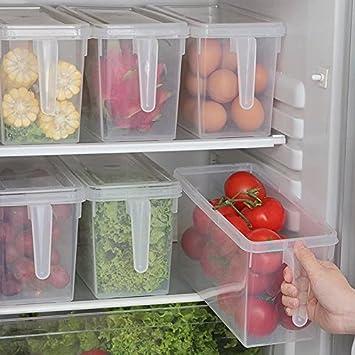 Elinala Organizador de Caj/ón para Nevera 2 PCS Refrigeradores de Pl/ástico Contenedores Extra/íbles y Organizador de Estante para Verduras y Frutas Organizador Nevera Azul