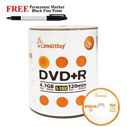 Smartbuy 100-disc 4.7GB/120min 16x DVD+R Logo Top Blank Media Record Disc + Black Permanent Marker by Smartbuy
