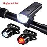 PChero Super Bright IPX4 Waterproof Bicycle Light Set, USB Rechargeable Bike Headlight+Rear Tail Light (2pcs), Cycling Safety Flashlight Fits Most Bikes, BEST Mountain Road, Kids City Bicycle