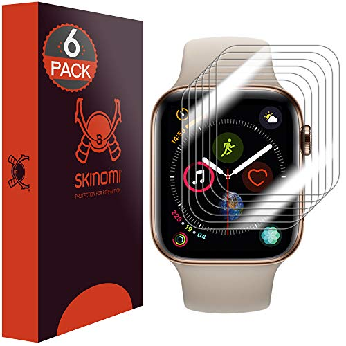 (Skinomi TechSkin [6-Pack] (Slim Design) Clear Screen Protector for Apple Watch Series 4 (44mm) Anti-Bubble HD TPU Film)