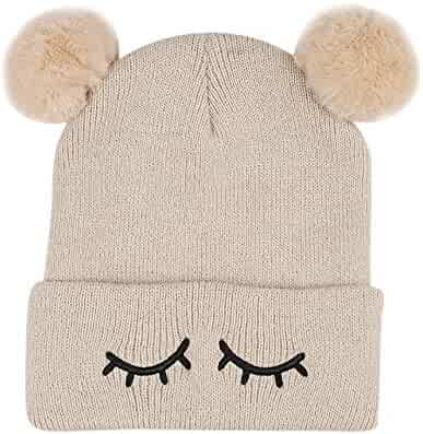 Winter Children 0-3years Old Baby Keep Warm Winter Fur Ball Knitted Wool Parent-Child Cap Hat Dreamyth
