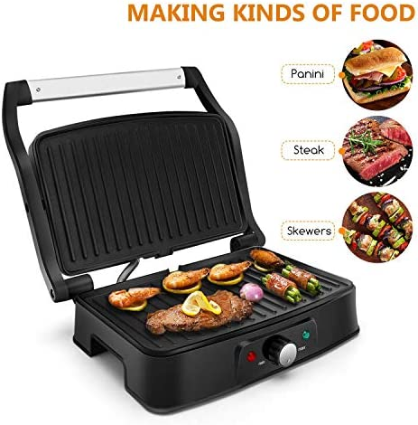 Aigostar Sandwich Press & Panini Maker, 1500W Toastie, Cool Touch Handle, Nonstick Coated Plate, Stainless Steel, Light Indicator, Temperature Control Knob, Silver - Hitte 30KHG.
