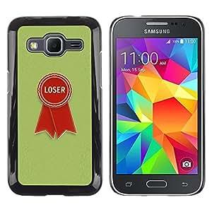 TopCaseStore / la caja del caucho duro de la cubierta de protección de la piel - Loser Badge Sign Quote Red Green Retro Style - Samsung Galaxy Core Prime SM-G360