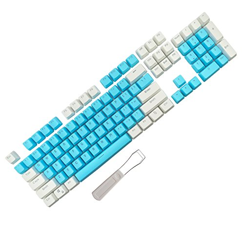 104 Keys Cherry Mx Blue Switches Key Caps with Keycaps Puller for DIY Mechanical Keyboard (White Blue) ()