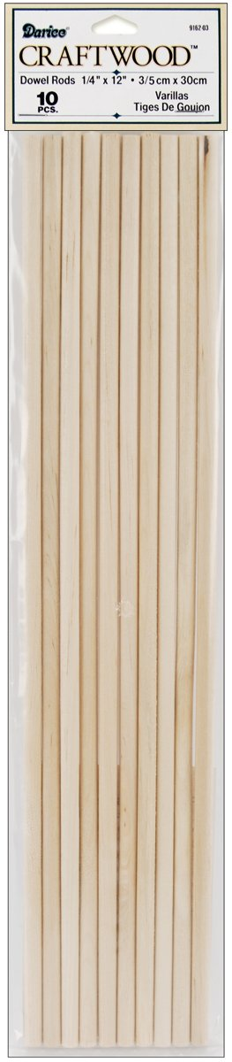 Dowel Rod - Wood - 1/4 x 12 inches - 10 pieces