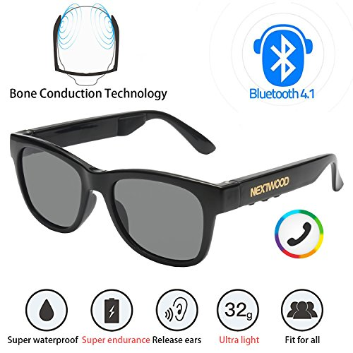 Bluetooth Headphones Wireless Stealth Headphones Glasses Sunglasses Bone Conduction Waterproof Intelligent Songs Artifact 6 Color Microphone Phone (Black Gray - Bone Conduction Sunglasses Bluetooth