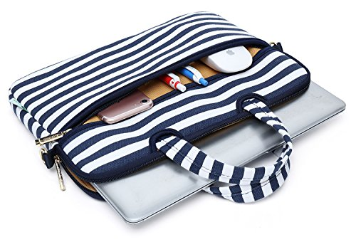 Kayond Canvas Fabric Ultraportable Neoprene Laptop Carrying Case/Shoulder Messenger Bag/Daily Briefcase Work/School/Travel(15-15.6, Breton Stripe) by kayond (Image #2)