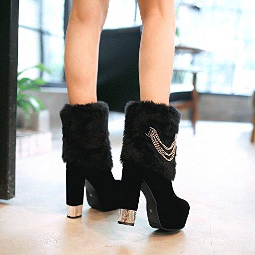 Latasa Womens Faux Fur Platform Block High Heels Short Dress Boots Black X0irvfIUyE